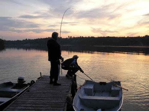 Chris Tarrant & Toby Tarrant Fishing at Lakeside
