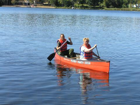 We really enjoy canoeing on the lake.