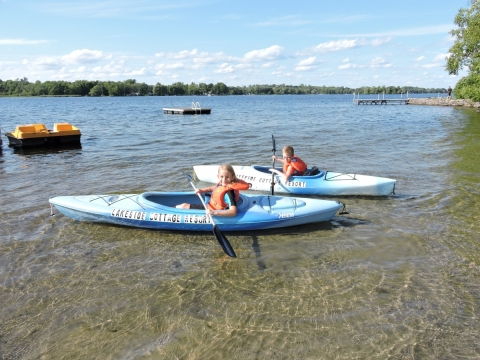Learning to Kayak at Lakeside Cottages